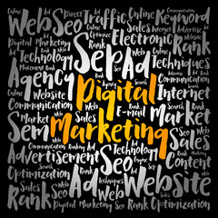 Digital Marketing word cloud collage, business concept background