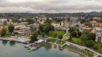 Aerial view of Velden Am Worthersee on beautiful lake Worthersee in Austria