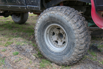 Close-up of 4x4 off-road vehicle tire
