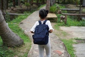 Asian girl Kids travel backpack