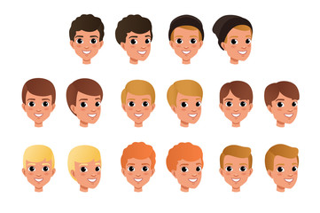 Cartoon collection of variety of boy s hair styles and colors. Kid with smiling face expression. Human head icons. Flat vector design for game avatar