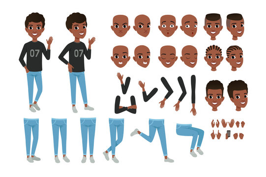 Teenager character constructor. Black boy s separate parts of body, different face expressions and haircuts. Isolated flat vector design