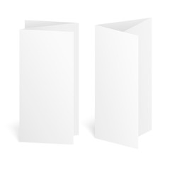Blank three fold paper brochure on white background with soft shadows. Vector