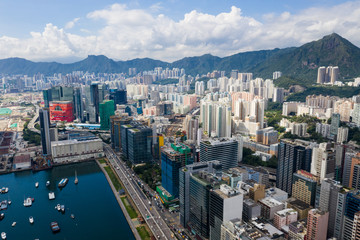 Aerial view of Hong Kong downtown