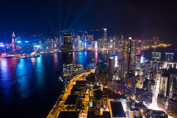 Drone fly over kowloon peninsula with night show