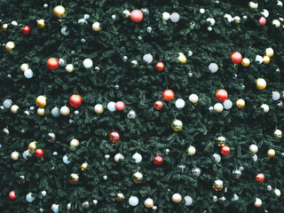 Wall Mural - Vintage Christmas tree with ball decoration. Christmas and New Year holiday background. vintage color tone.