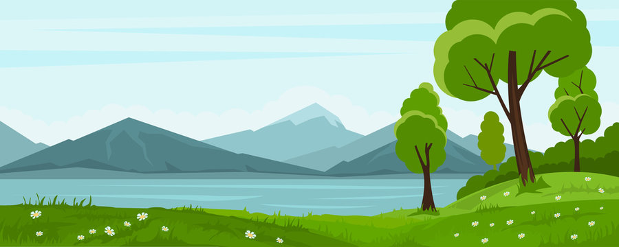 Summer landscape with trees and lake and mountain