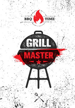 Grill Master Meat On Fire Barbecue Menu Vector Design Element. Outdoor Food Meal Creative Rough Sign