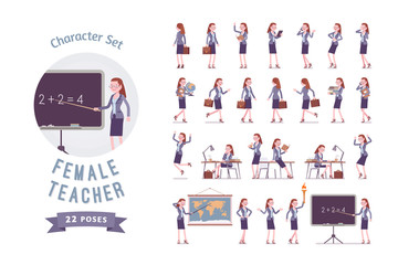 Female teacher ready-to-use character set