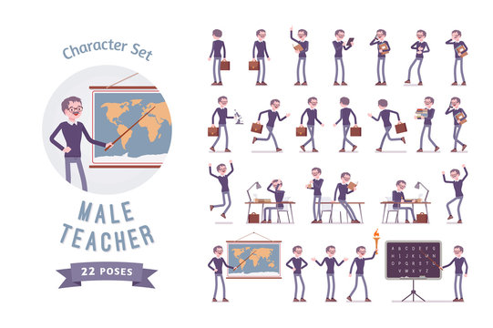 Male teacher ready-to-use character set
