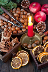 Christmas fruits on wooden background
