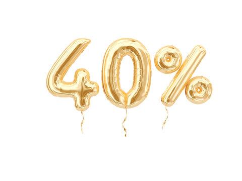 40 % sale banner golden flying foil balloons on white. 3d rendering.