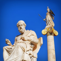 Plato the philosopher and Athena the goddess of wisdom and knowledge, Athens Greece