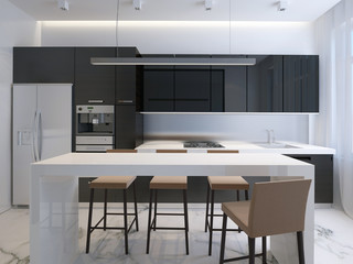 modern kitchen, minimalistic interior design
