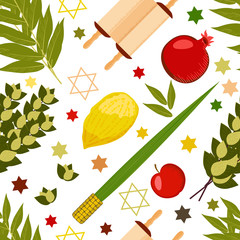 Sukkot. Judaic holiday. Traditional symbols - Etrog, lulav, hadas, arava. Torah scroll. Apple, pomegranate, figs. Star of David. Seamless Pattern