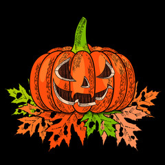 Halloween. 31 October. A pumpkin with a carved terrible face, autumn leaves with holes. Drawing style engraving