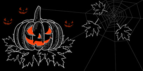 Halloween. 31 October. A pumpkin with a carved terrible face, autumn leaves with holes, spiderweb. Horizontal location. Drawing style engraving