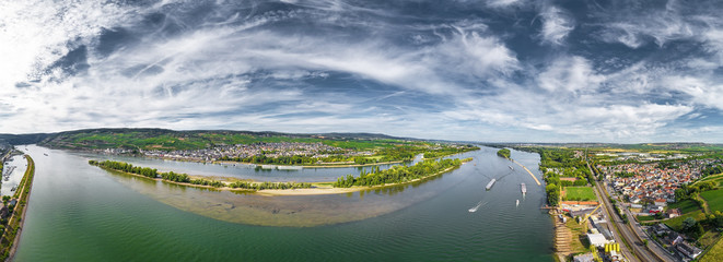 Luftbild Rüdesheim und Ingelheim am Rhein