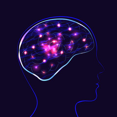 World Mental Health Day. Silhouette of the head of man and brain. Lights showing the work of the brain