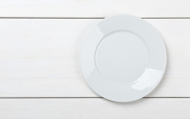 Empty, clean white plate on white table