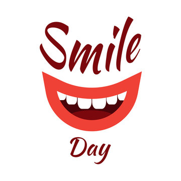 World Smile Day. Event name, smiling mouth. White background