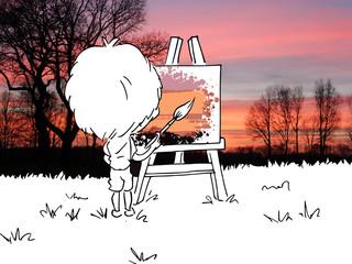 Jongen bomen en schemering aan het schilderen