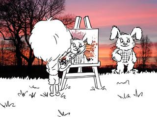 Jongen is een konijn aan het schilderen