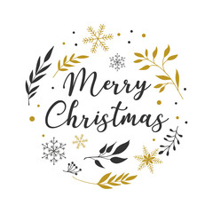 Merry Christmas Background with Typography, Lettering. Minimalistic simple greeting card