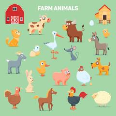 Farm birds and animals. Cartoon images set. Vector illustration