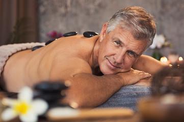 Senior man at beauty spa