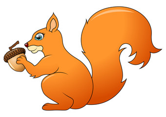 Cartoon funny squirrel isolated on white background. Vector Illustration