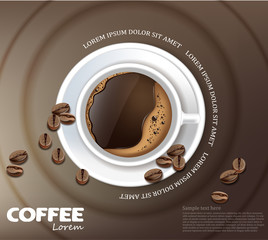 Coffee cup card Vector realistic. Product placement mock up. Dark beans, coffee background. top view 3d illustrations