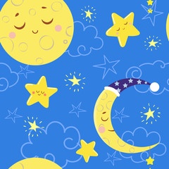 Seamless pattern with cute sleeping moons and stars. Vector illustration