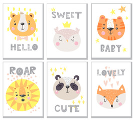 Set of cute card with funny animals face. Vector illustration