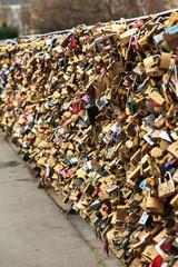 Close up of the padlocks on the Pont de l'Archeveche (Archbishop's Bridge) in Paris