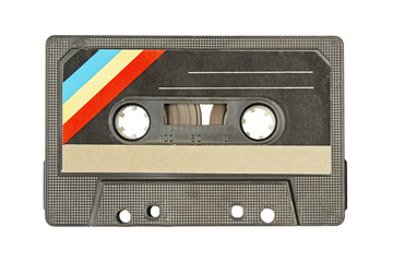 Retro audio tape isolated on white background