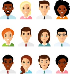 Set of different avatar african american, european peoples in colorful flat style. Collection of various avatars of international man, woman.