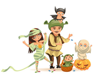 Cartoon family celebrating Halloween flat poster vector illustration. Happy parents and children dressed in various All Hallows Eve costumes. Horror party concept. Isolated on white.