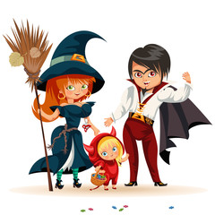 All Hallows Eve family party flat poster vector illustration. Cartoon smiling parents with daughter dressed in nice Halloween costumes of witch dracula and devil.