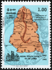 Rough map of Sri Lanka on postage stamp
