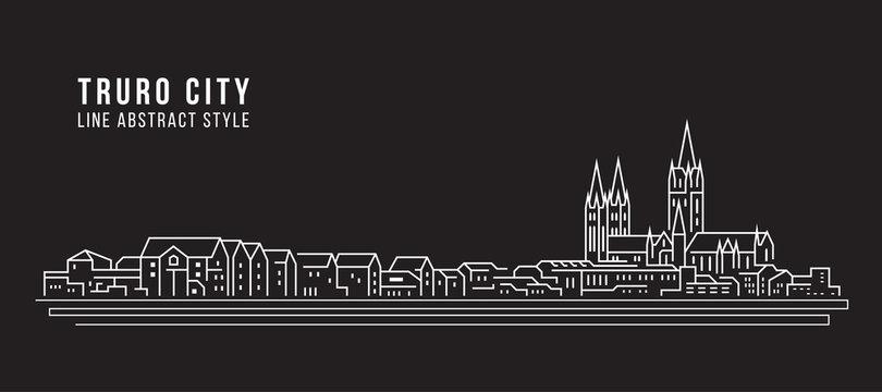 Cityscape Building Line art Vector Illustration design - truro city