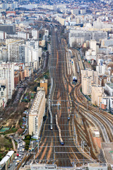 Gare Montparnasse aerial view seen from the Tour Montparnasse in Paris, France