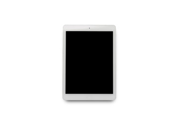 White tablet on white isolated background. Flat lay, top view