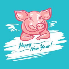 Cute happy little pig and wings - graphic illustration. Color drawing of cheerful pork animal, vector cartoon design style.