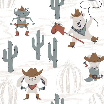 Western animal baby seamless pattern. Wild west bunny, mouse, bear, frog with hat, boot, gun