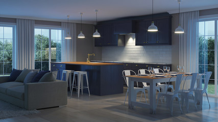 The modern interior of the house with a dark purple kitchen. Night. Evening lighting. 3D rendering.
