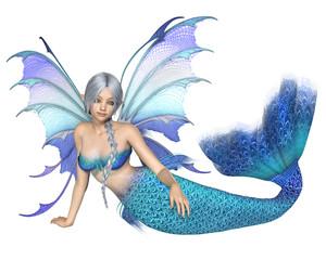 Bright Blue Mermaid Fairy, Reclining - fantasy illustration