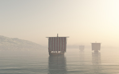 Viking Longships Approaching through the Mist - fantasy illustration
