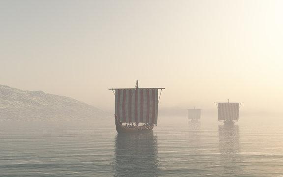 Viking Longships Approaching through the Mist - fantasy illustration
