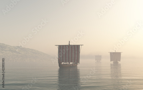 """Viking Longships Approaching through the Mist - fantasy illustration"" Stock photo and royalty-free images on Fotolia.com - Pic 221813383"
